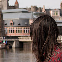 europe girl city river