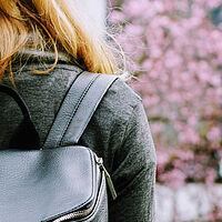 girl rucksack spring blossom