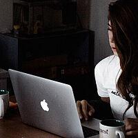 girls laptop desk work