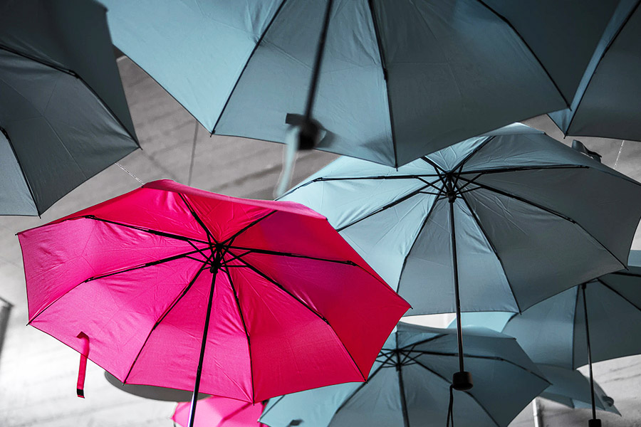 grey umbrellas with a pink one
