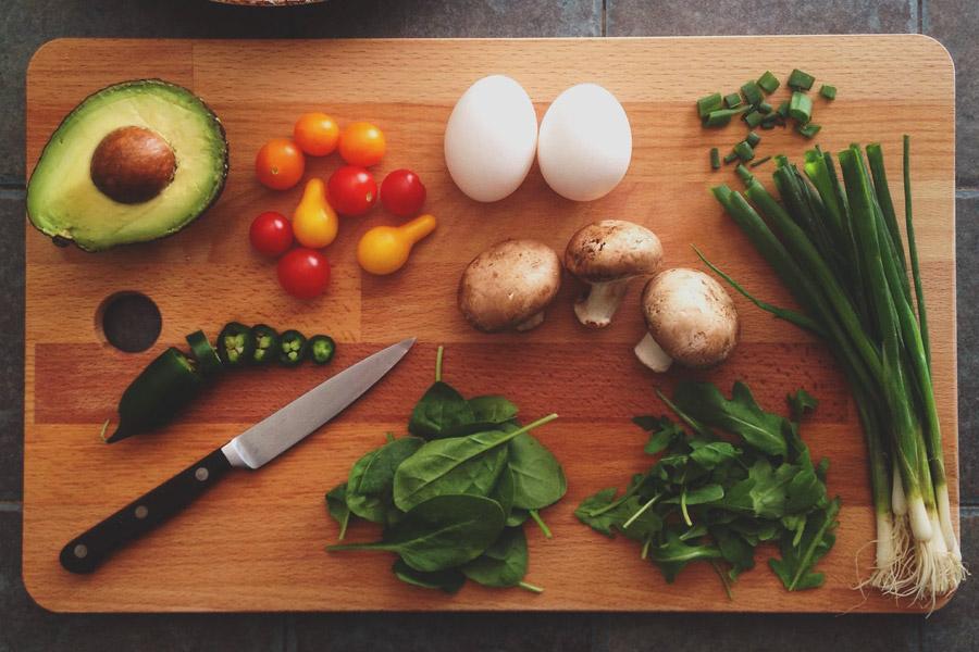 healthy food on a chopping board